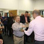 John Kay receiving the soggy bottom award for the worst bake