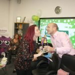 Midshire MD Julian Stafford giving Talia Roddy her prize